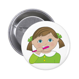 Girl Brushing Teeth Pinback Button