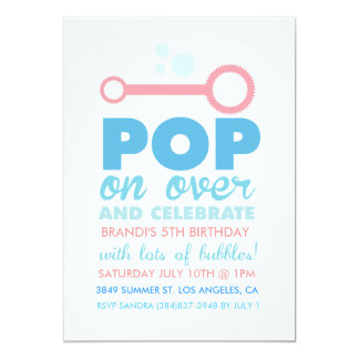 (Girl) Bubble Party Themed Birthday Invite
