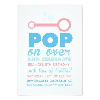 "(Girl) Bubble Party Themed Birthday Invite 5"" X 7"" Invitation Card"