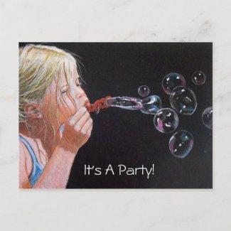 GIRL: BUBBLES: ART: PARTY: INVITATION postcard