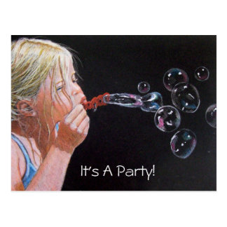 GIRL: BUBBLES: ART: PARTY: INVITATION POSTCARD