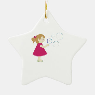 Girl & Bubbles Double-Sided Star Ceramic Christmas Ornament
