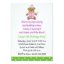 Girl Build a Bear Invitation