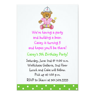 Girl Build a Bear Invitation