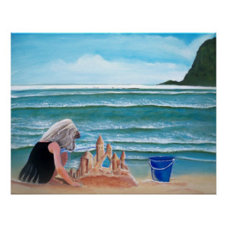 Girl building sand castle by the sea painting art print