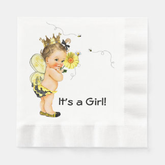 Girl Bumble Bee Baby Shower Paper Napkin