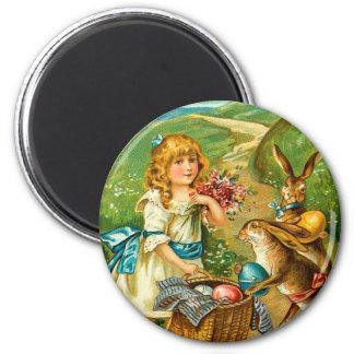 Girl & Bunnies Floral Vintage Easter Landscape 2 Inch Round Magnet