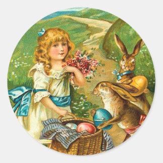 Girl & Bunnies Floral Vintage Easter Landscape Classic Round Sticker
