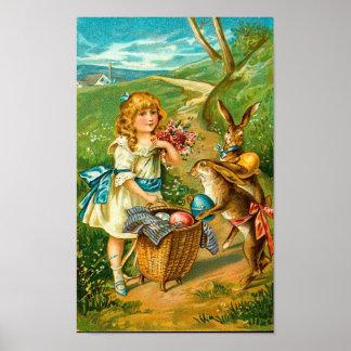 Girl & Bunnies Floral Vintage Easter Landscape Poster