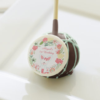 Girl Bunny and Wreath 1st Birthday Cakepop Favors