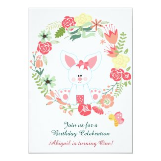 "Girl Bunny and Wreath 1st Birthday Invitation 5"" X 7"" Invitation Card"