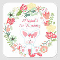 Girl Bunny and Wreath 1st Birthday Stickers
