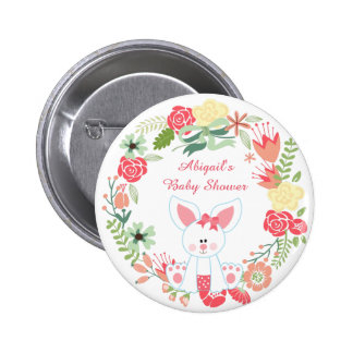 Girl Bunny and Wreath Baby Shower Button
