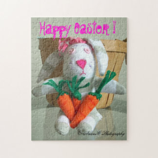 Girl bunny eating carrots puzzle