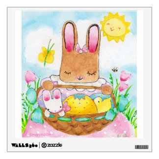 Girl bunny with Easter Basket wall decal