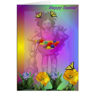 Girl, Butterflies and Easter Eggs Card