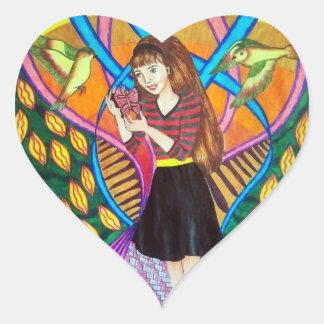 Girl, Butterfly, And Birds In A Garden Heart Sticker
