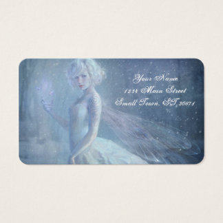 Girl Butterfly Painting When Blonde Snow Winter Business Card