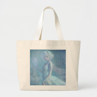 Girl Butterfly Painting When Blonde Snow Winter Large Tote Bag