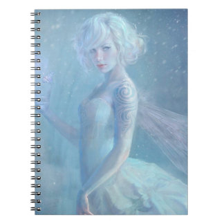 Girl Butterfly Painting When Blonde Snow Winter Note Books