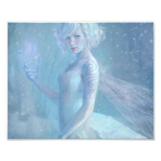 Girl Butterfly Painting When Blonde Snow Winter Photo Print