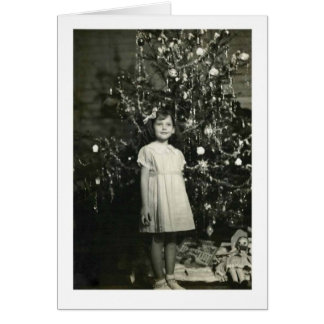 GIRL BY A CHRISTMAS TREE CARD
