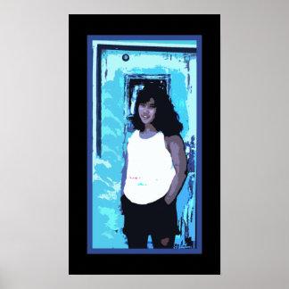 Girl by Old Blue Door Poster