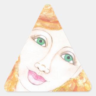Girl by the Sea 001.jpg Triangle Sticker