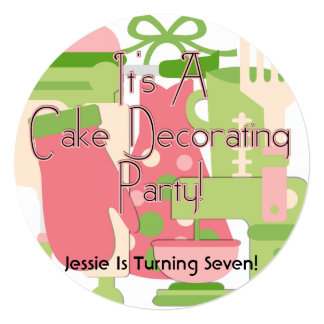 Girl Cake Decorating Party Birthday Invite