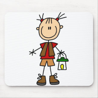 Girl Camper With Lantern Mousepad