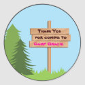 Girl Camping Birthday Party Favour Sticker sticker