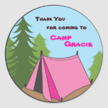 camping, tent, birthday party favor sticker, favor