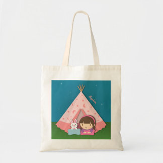 Girl Camping Teepee Tent Bunny Tote Bags