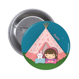 Girl Camping Teepee Tent Bunny Buttons