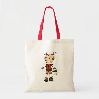 Girl Camping With Lantern Bag