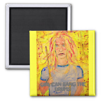 girl can bang the drums 2 inch square magnet