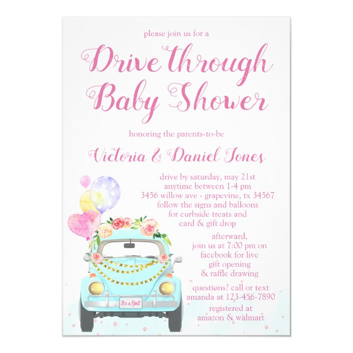 Girl Car Drive Through Baby Shower Invitation Zazzle Com