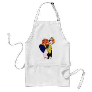 Girl Carrying Pumpkin with Black Cat Aprons