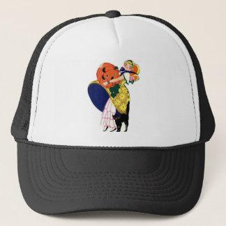 Girl Carrying Pumpkin with Black Cat Trucker Hat