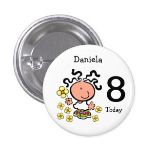 Girl cartoon birthday name and age Button