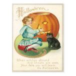 Girl Carving A Pumpkin Vintage Postcard
