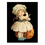 Girl Carving Apple Halloween Postcard