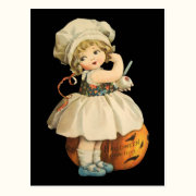 Girl Carving Apple Halloween Postcard