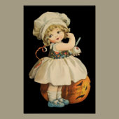 Girl Carving Apple Halloween Poster