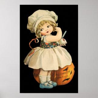 Girl Carving Apple Halloween Poster