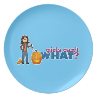 Girl Carving Pumpkin Plate