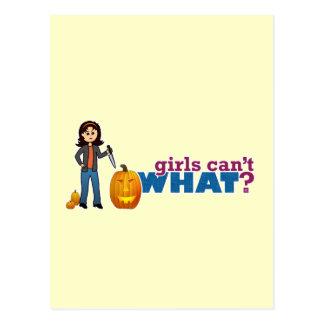 Girl Carving Pumpkin Postcard