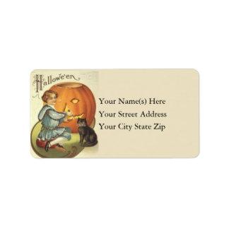 Girl Carving Pumpkin Vintage Address Label