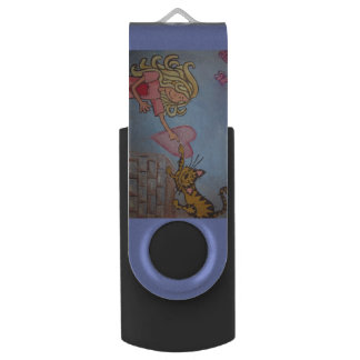 girl, cat and hearts USB Flash Drive