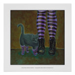 Girl cat boots striped socks fun witch goth art posters